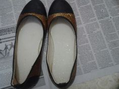 My first DIY glitter flat shoes