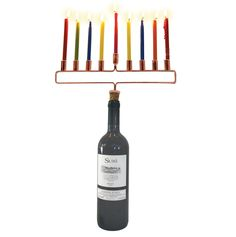 Take any bottle and make it into a Hanukkah menorah! Great for travel, or when you need an excuse to open up a bottle of vino. Great menorah for the college student! Or the eternal college student. Co