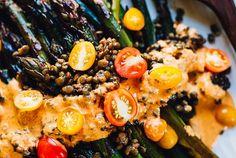 Roasted Asparagus with Romesco Sauce & Lentils (Vegan, Gluten Free)