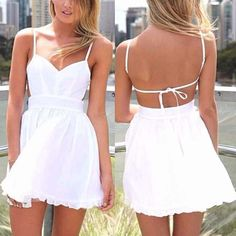 Spaghetti Strap Sleeveless Backless White Mini Dress