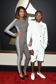 Helen Lasichanh and Pharrell Williams in Adidas at the Grammy Awards. (Photo: Larry Busacca/Getty Images For Naras)