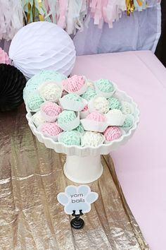 """Pink and green Oreo truffle """"yarn balls"""" for a kitty cat birthday party! Tap the link for an awesome selection cat and kitten products for your feline companion! Cat Birthday, 6th Birthday Parties, Friend Birthday, Birthday Ideas, Paris Birthday, Birthday Photos, Birthday Cakes, Cat Themed Parties, Kitty Party Themes"""
