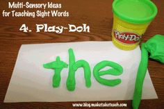 7 Multi-sensory activities for teaching sight words. FREE templates and flashcards for Dolch sight word list 1 --- use with spelling words too!