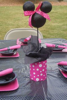 @Sara Michaud. If you didn't see this one yet Minnie Mouse Centerpieces Minnie Party Decor - would be cute in a Minnie nursery