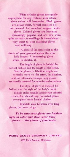 Vintage Glove Etiquette 1