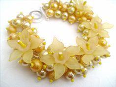 Pearl Beaded Bracelet With Flowers Yellow Bracelet by KIMMSMITH, $19.00