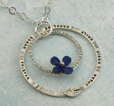 Family Tree Necklace with Flower  custom made by KathrynRiechert, $86.00