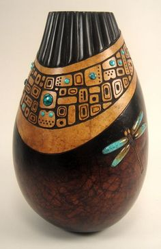 """""""Continuum"""" Gourd with inlaid round turquoise cabochons. Bonnie Gibson"""