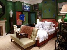 Beautiful bedroom by Lee Jofa.