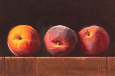 "Daily Paintworks - ""Three Peaches at Sunset"" - Original Fine Art for Sale - © Abbey Ryan Food Art Painting, Fruit Painting, Peach Paint, Classical Realism, Still Life Fruit, Fruit Photography, Painting Still Life, Fruit Art, Oil Paintings"