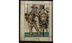 Armorial of Charlemagne as Holy Roman Emperor from the Goldsmith Mor Book of Portugal called Livro do Armeiro-Mor - Arquivo Nacional da Torre do Tombo - DigitArq