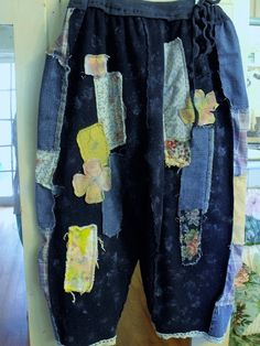 Raggey Patched/Embellished/Splatter by SheerFab on Etsy