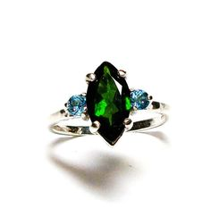 "Chrome diopside, chrome diopside ring, chrome topaz ring, green and blue, 3 stone ring, anniversary ring, s 6 1/2 ""Far & Away"" by Michaelangelas on Etsy"