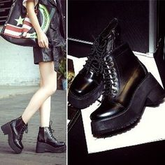 Chunky-Heel Platform Ankle Boots