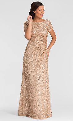 Image of champagne gold sequin MOB dress by Adrianna Papell Style: Front Image Formal Dresses With Sleeves, Mob Dresses, Formal Evening Dresses, Teen Dresses, Western Wedding Dresses, Sexy Wedding Dresses, Bridesmaid Dresses, Bridesmaids, How To Dress For A Wedding
