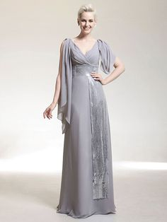 Formal Evening/Military Ball Dress - Silver Plus Sizes Sheath/Column V-neck Floor-length Chiffon/Sequined - USD $139.99