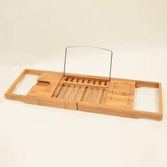 Adjustable Bamboo Bathtub Book & Wine Caddy //Price: $71.95 & FREE Shipping //     #Bathroom #ModernShowerIdeas