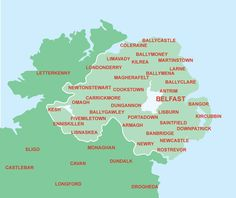 Larne Ireland | Click on town name on map for accommodation search in that area