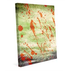 """Click Wall Art Splatterbug Green Painting Print on Wrapped Canvas Size: 40"""" H x 30"""" W x 1.5"""" D"""
