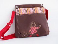 Handtasche - Handtasche Umhängetasche Malu braun Mädchen rot - ein Designerstück von Keko-Kreativ bei DaWanda