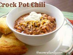 Crock Pot Chili with Beans | Ingredients 1 pound pinto beans, soaked overnight in water, drained and rinsed 2 pounds chili meat – or you can use stew meat in a pinch. 2 cups beef broth 1 14-ounce can diced tomatoes 1/2 cup diced onions 1 package chili seasoning 1/4 cup ketchup 2 tablespoons onion powder 2 tablespoons Worcestershire sauce 1 []
