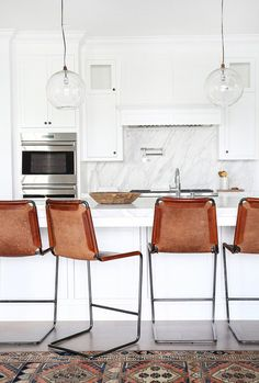 Leather Bar Stools in Modern Kitchen