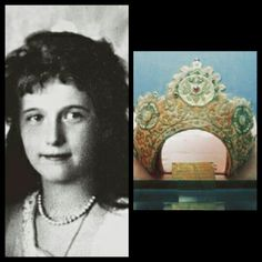 The Grand Duchess Anastasia Nikolaevna Romanova of Russia. with the kokoshnik created for her for the 1913 Tercentenary of the Romanov Dynasty.