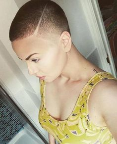 short hair and similar Short Sassy Hair, Super Short Hair, Short Hair Cuts, Short Hair Styles, Crop Haircut, Buzzed Hair, Hair Today Gone Tomorrow, Shaved Hair Designs, Bald Hair