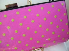 Clutch Purse Lime polka dots on Hot Pink by ARubyInTheRough, $26.95