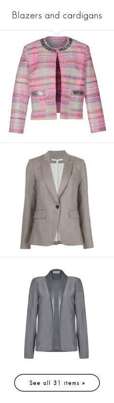 """""""Blazers and cardigans"""" by dasha-xiv on Polyvore featuring outerwear, jackets, blazers, pink, sequin jacket, pink sequin jacket, sequin blazer, purple blazers, tweed blazer and beige"""
