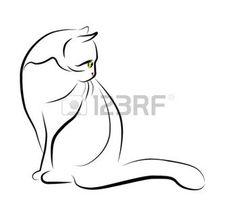 Les 10 meilleures images de tatouage de contour de chat - Dessin chat assis ...