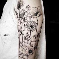 35 Amazingly Pretty Flower Tattoos That Are Perfect For The Spring & Summer - 35 Best Flower Tattoos For Women That Will Inspire You To Get Inked Over The Summer Cute Tattoos, Black Tattoos, Body Art Tattoos, New Tattoos, Tatoos, Amazing Sleeve Tattoos, Black Poppy Tattoo, Half Sleeve Tattoos For Women, Black And White Flower Tattoo