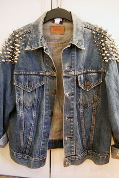 Studded shoulder denim jacket. So good.