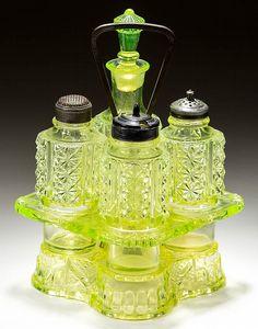 Antique Glassware, Antique Bottles, Vintage Bottles, Vintage Perfume, Condiment Sets, Vaseline Glass, Fenton Glass, Through The Looking Glass, Carnival Glass