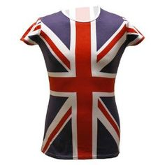 "British Flag Great Britain Women's Novelty Tunic Shirt 34"" Chest"