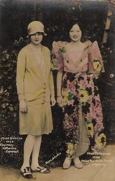 Miss America, Mary Katherine Campbell,  with Miss Philippines, Paz de los Reyes y Ongsiako.  (The picture says Miss America 1924, but Mary was Miss America in 1922 and 1923.)
