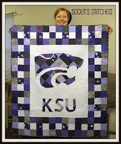 I think Dani Ray needs to make me one!K-State Quilt. Right Lampert Lampert Houghtby? Kansas State University, Kansas State Wildcats, Kansas Usa, Quilting Projects, Sewing Projects, Quilting Ideas, Football Quilt, Sports Quilts, Crochet Quilt
