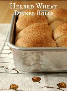 {A Kitchen Addiction} Herbed Wheat Dinner Rolls - Perfect for Thanksgiving!