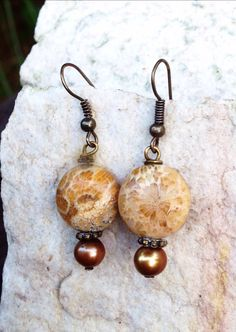 Fossil jasper earrings