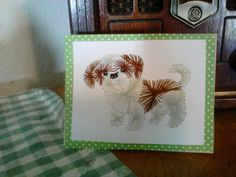 Cute little Shih Tzu greeting card, all hand stitched using Stitching Cards pattern. Ready to send with your personalized greeting. Shih Tzu, Beautiful Hands, Hand Stitching, Diy And Crafts, Greeting Cards, Butterfly, Pattern, Animals, Sons