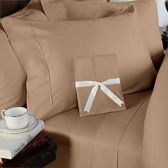 """8PC ITALIAN 1200TC Egyptian Cotton DOWN ALTERNATIVE COMFORTER Bed in a Bag - Sheet , Duvet California King Taupe by Egyptian Cotton Factory Outlet Store. $239.99. 1 Flat Sheet (110"""" x 102""""), 1 Fitted Sheet (72"""" x 84"""") and 2 King Pillow Cases (20"""" x 40""""). This 8pc luxury bedding set is designed & crafted in ITALY.. Beautiful Duvet Set : 1 Duvet Cover (106"""" x 90"""") and 2 Shams (20"""" x 40""""). Luxury 1200TC 100% DOWN ALTERNATIVE Comforter, 750fp, 50oz, Allergy free.. ITA..."""