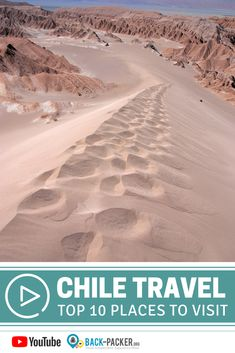 This list of top 10 places to visit in Chile shows you the highlights of the country. I have been backpacking in Chile 2 times already where I managed to vis. Backpacking South America, South America Travel, Travel Deals, Travel Destinations, Travel Guide, Travel Plan, South American Countries, Beaches In The World, Travel Videos