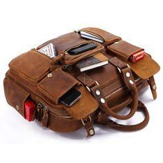 Mens Handmade Vintage Leather Travel Bag / Tote / Messenger / Duffle Bag