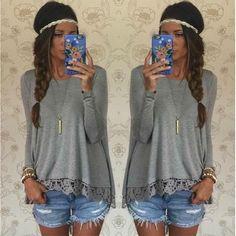 Women Casual Lace Spliced Long-sleeved Irregular Hem T-shirt Blouse = 1841737668