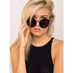Quay Australia Black Tainted Love Sunglasses ($36) ❤ liked on Polyvore featuring accessories, eyewear, sunglasses, black lens sunglasses, cat eye sunglasses, matte lens sunglasses, uv protection sunglasses and black round sunglasses