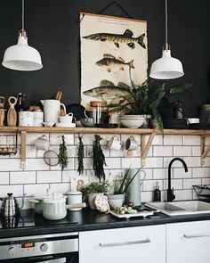 30 Fun and Fresh Decor Ideas to Make Your Kitchen Wall Looks Amazing is part of Kitchen When you have a kitchen on your own, you must have many easy kitchen decor wall ideas to be applied to it The - Home Interior, Interior Design Kitchen, Interior Decorating, Interior Plants, Interior Livingroom, Decorating Ideas, New Kitchen, Kitchen Dining, Kitchen Decor
