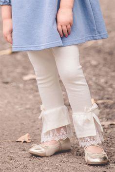MaeLi Rose - Ivory Lace Cuff Leggings Stylish Dresses For Girls, Dresses Kids Girl, Kids Outfits, Salwar Pants, Salwar Dress, Pakistani Dresses Casual, Pakistani Dress Design, Kurti Designs Party Wear, Salwar Designs