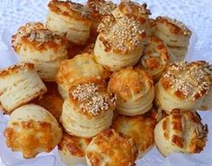 pogacsa (Hungarian biscuit) with sour cream Croatian Recipes, Hungarian Recipes, Extra Recipe, Hungarian Cuisine, Sour Cream Cake, Savory Pastry, Good Food, Yummy Food, Gourmet