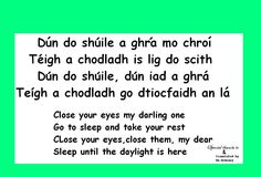 Close your eyes-.. Gaeilge