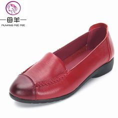 398a1115911da3 MUYANG MIE MIE Spring And Autumn Women Flats 2017 Fashion Genuine Leather  Flat Shoes Woman Soft Casual Loafers Women Shoes